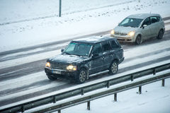 Traffic in Vilnius during winter snowstorm Royalty Free Stock Photos