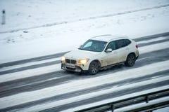 Traffic in Vilnius during winter snowstorm Stock Photos