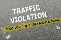 Traffic Violation concept. Render illustration of Traffic Violation title on the ground in a police arena Royalty Free Stock Image