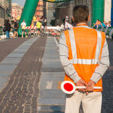 Traffic warden man with paddle Royalty Free Stock Images