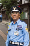 Traffic warden and security officer in Kanazawa. Royalty Free Stock Images
