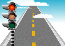Traffic warning. Traffic lights red, dangerous road stock illustration