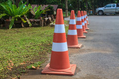 Traffic warning cone  in parking area Stock Image