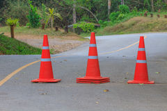 Traffic warning cone on road Stock Photography
