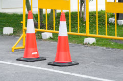 Traffic warning cone in row to separate route in parking area. View of a Vehicle Security Barrier stock photo