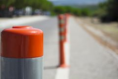 Traffic warning cone in row to separate route in road area.  stock images