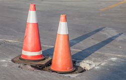 Traffic warning cones for warning construction site. Stock Photo