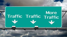 Traffic Warning Sign with Time Lapse Clouds. Freeway traffic warning road sign with time lapse clouds stock video