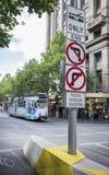 Traffic Warning Signs Swanston Street Melbourne, Australia. Stock Images