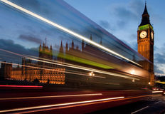 Traffic on Westminster Bridge at night. A bus speeding past the Houses of Parliament on Westminster Bridge, London Stock Photos