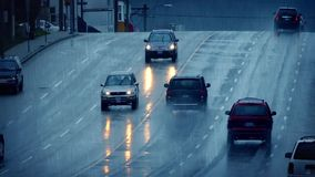 Traffic On Wet Road In Rainfall stock video