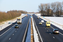 Traffic winter highway royalty free stock image
