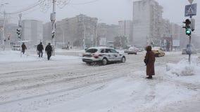 Traffic winter stock video footage
