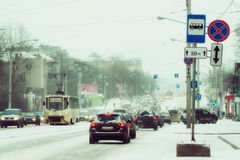 The traffic in the winter time Royalty Free Stock Photo