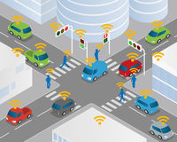 Traffic and wireless network, Intelligent Transport Systems, Internet of Things Royalty Free Stock Photos