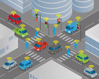 Traffic and wireless network, Intelligent Transport Systems, Internet of Things Royalty Free Stock Image