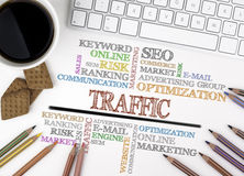 Traffic word cloud, Business concept. White office desk.  Royalty Free Stock Image