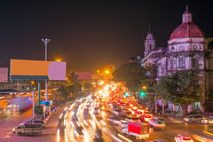 Traffic in Yangon Myanmar at night. Traffic in Yangon Myanmar Asia at night Royalty Free Stock Image