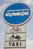 Traffice Sign. Traffic Sign showing a Bus, Bicycle, Moterbike and Taxi Royalty Free Stock Image