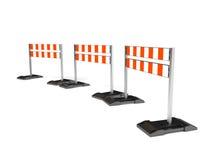 Traffichi il simbolo della costruzione, barriera mobile su bianco Fotografie Stock Libere da Diritti