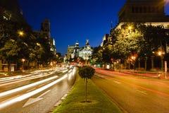 Traffichi nella notte Madrid Fotografia Stock