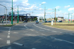 Traffichi sulla rotonda di Rataje a Poznan, Polonia Immagine Stock Libera da Diritti