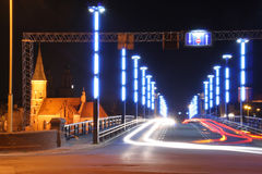 Traffick da noite na ponte Imagens de Stock