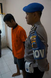 Traffickers of narcotics. Police arrested traffickers of narcotics in the town of Solo, Central Java, Indonesia stock image