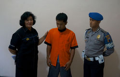Traffickers of narcotics. Police arrested traffickers of narcotics in the town of Solo, Central Java, Indonesia royalty free stock image