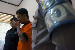 Traffickers of narcotics. Police arrested traffickers of narcotics in the town of Solo, Central Java, Indonesia royalty free stock images