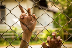Trafficking problem that exists all over the world. Cell, the prisoner, the prisoner, prison, cage.Trafficking problem that exists all over the world Stock Image