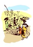 Trafficking women in the bazaar. On a white background with painted paints stock illustration