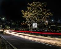 Traffico alla notte ed al segno della scuola Immagine Stock