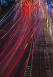 Traffico attraverso la città alla notte Fotografia Stock Libera da Diritti