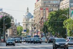 Traffico Bucarest del centro di ora di punta Fotografia Stock Libera da Diritti