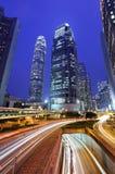 Traffico del centro alla notte Fotografia Stock Libera da Diritti