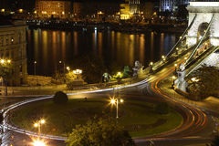 Traffico del cerchio a Budapest Immagine Stock