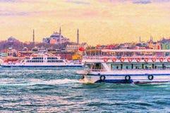 Traffico del traghetto sul Bosphorus Fotografia Stock Libera da Diritti