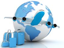 Traffico dell'aeroplano con un globo illustrazione di stock
