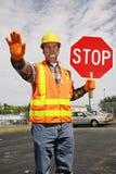 Traffico dell'operaio di costruzione Immagini Stock Libere da Diritti
