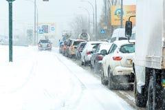 Traffico della tempesta di inverno Immagini Stock