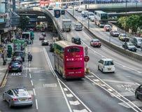 Traffico della via in Hong Kong Fotografie Stock Libere da Diritti