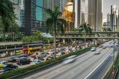 Traffico della via in Hong Kong Immagini Stock