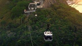 Traffico di cabina di funivia a Sugar Loaf Mountain Fotografie Stock Libere da Diritti