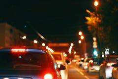 Traffico di città di notte Fotografia Stock