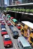 Traffico di Hong Kong nella zona concentrare Fotografie Stock Libere da Diritti