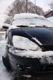 Traffico di inverno dello Snowy Fotografie Stock