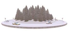 Traffico di inverno, isolato sui precedenti bianchi, illustrazione 3d fotografia stock