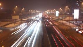 Traffico di notte al rallentatore stock footage