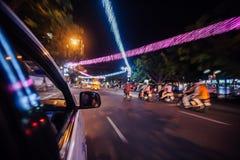 Traffico di notte di Da Nang Fotografia Stock Libera da Diritti